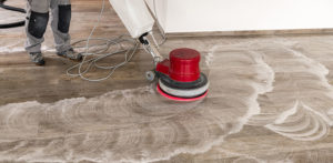 Professional cleaning of floor tiles